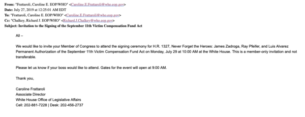 White House Invitation To 9/11 Bill Signing Ceremony (Screenshot Obtained By Daily Caller)