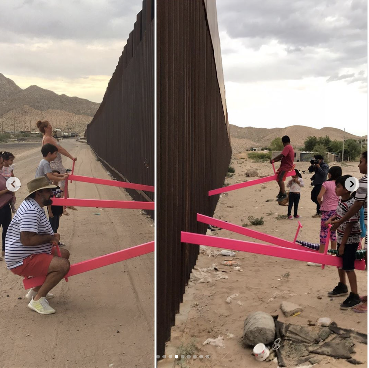 Bright pink seesaws have been placed between the US-Mexico border. (Screenshot Instagram/Ronald Rael @rrael Instagram)