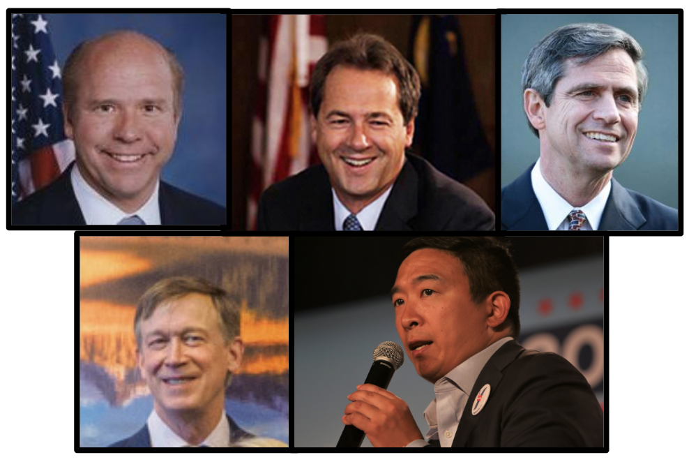 These are the only 2020 Democratic candidates who support the Electoral College: Delaney, Bullock, Sestak, Heickenlooper and Yang. (Source: Various Goverment Websites and SHUTTERSTOCK/Rich Koele)