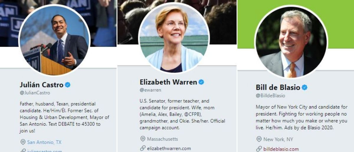 "Former Housing and Urban Development Sec. Julian Castro's bio declares ""He/Him/Él,"" New York City Mayor Bill de Blasio's bio declares ""He/him"" and Massachusetts Sen. Elizabeth Warren's bio declares ""She/her."" Screenshots"