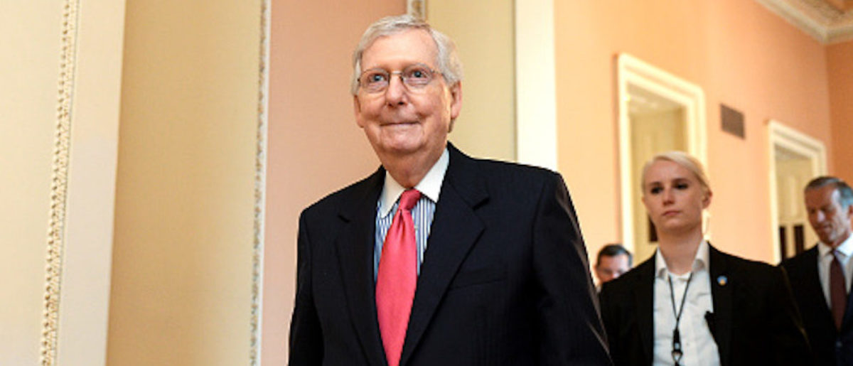 UNITED STATES - JULY 16: Senate Majority Leader Mitch McConnell, R-Ky., leaves a weekly policy luncheonon Capitol Hill on Tuesday July 16, 2019. (Photo by Caroline Brehman/CQ Roll Call)