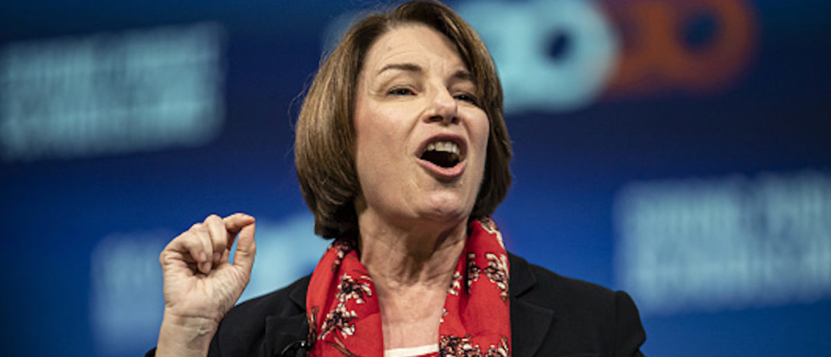 Senator Amy Klobuchar, a Democrat from Minnesota and 2020 presidential candidate, speaks during the National Education Association (NEA) #StrongPublicSchools Presidential Forum in Houston, Texas, U.S, on Friday, July 5, 2019. The forum gave the 2020 candidates the opportunity to answer questions from America's educators about the future of public education for our students. Photographer: Sergio Flores/Bloomberg via Getty Images