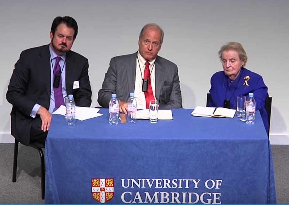 Steven Schrage moderates panel with former Minnesota Rep. Vin Weber and former Sec. of State Madeleine Albright, at University of Cambridge, July 11, 2016. (YouTube/University of Cambridge)