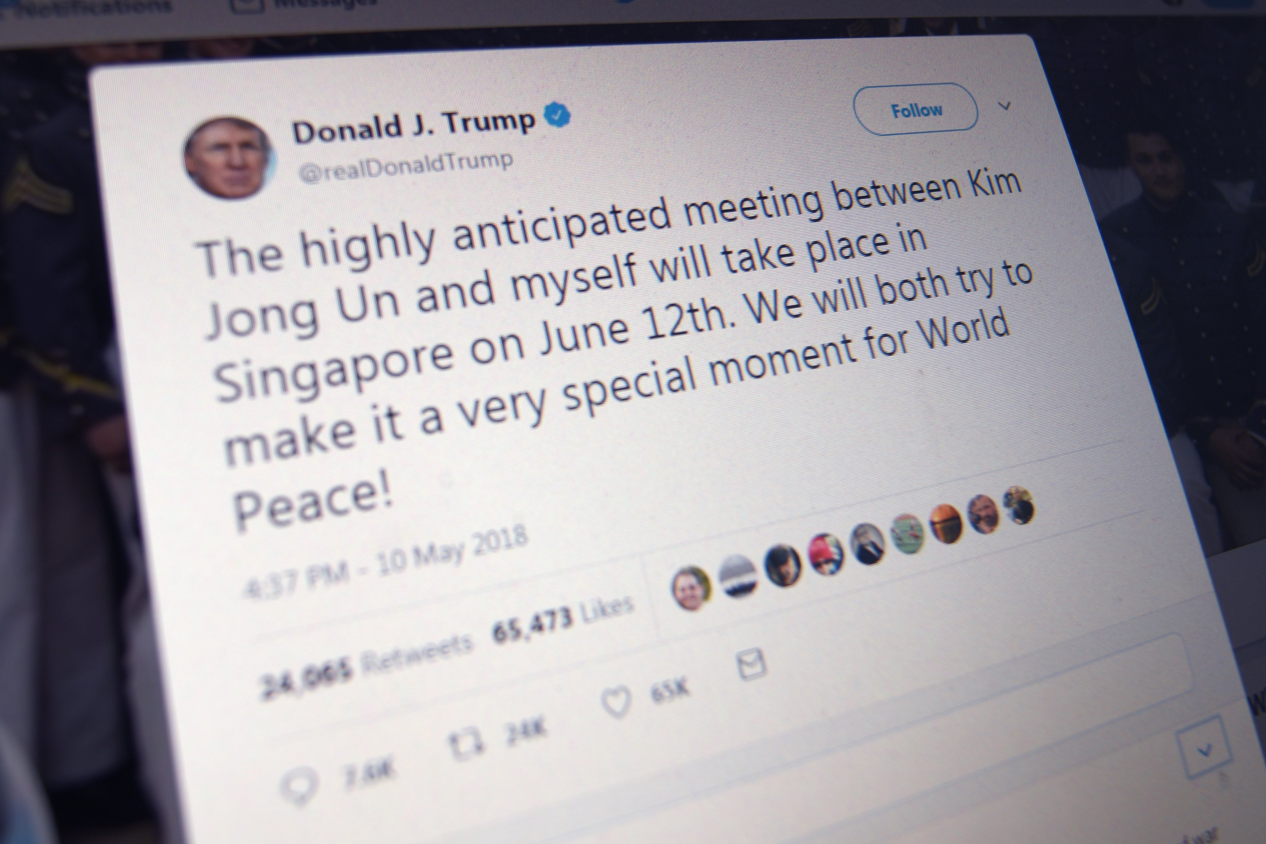 President Donald Trump announces his historic summit with North Korean leader Kim Jong Un on Twitter. (Eric Baradat/AFP/Getty Images)