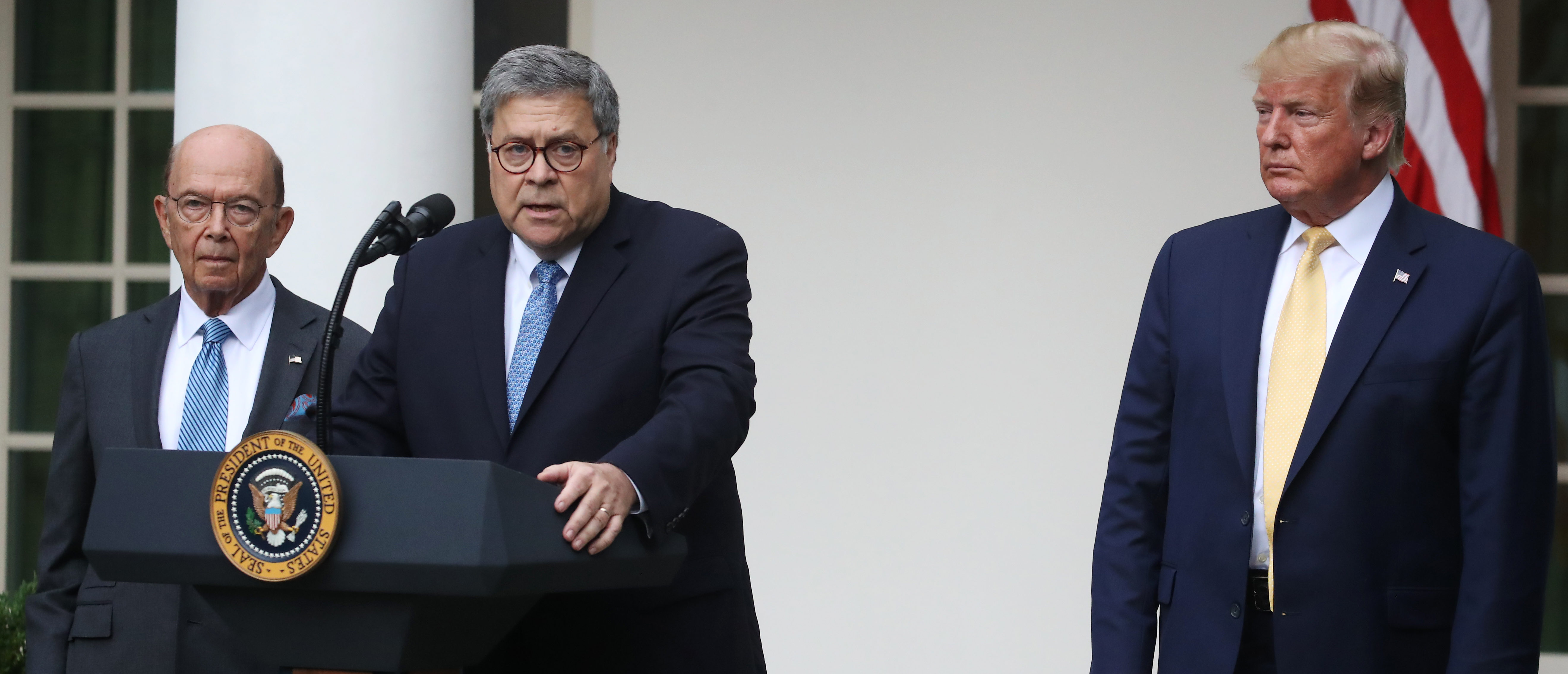 Attorney General William Barr speaks during a press conference on the census with President Donald Trump and Secretary of Commerce Wilbur Ross in the Rose Garden of the White House on July 11, 2019. (Mark Wilson/Getty Images)