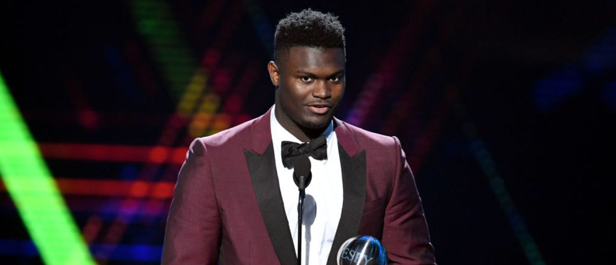 LOS ANGELES, CALIFORNIA - JULY 10: Zion Williamson accepts the Best College Athlete award onstage during The 2019 ESPYs at Microsoft Theater on July 10, 2019 in Los Angeles, California. (Photo by Kevin Winter/Getty Images)