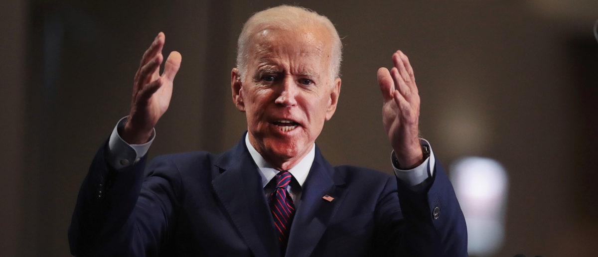 Democratic presidential candidate Joe Biden speaks to guests at the Rainbow PUSH Coalition Annual International Convention. (Scott Olson/Getty Images)