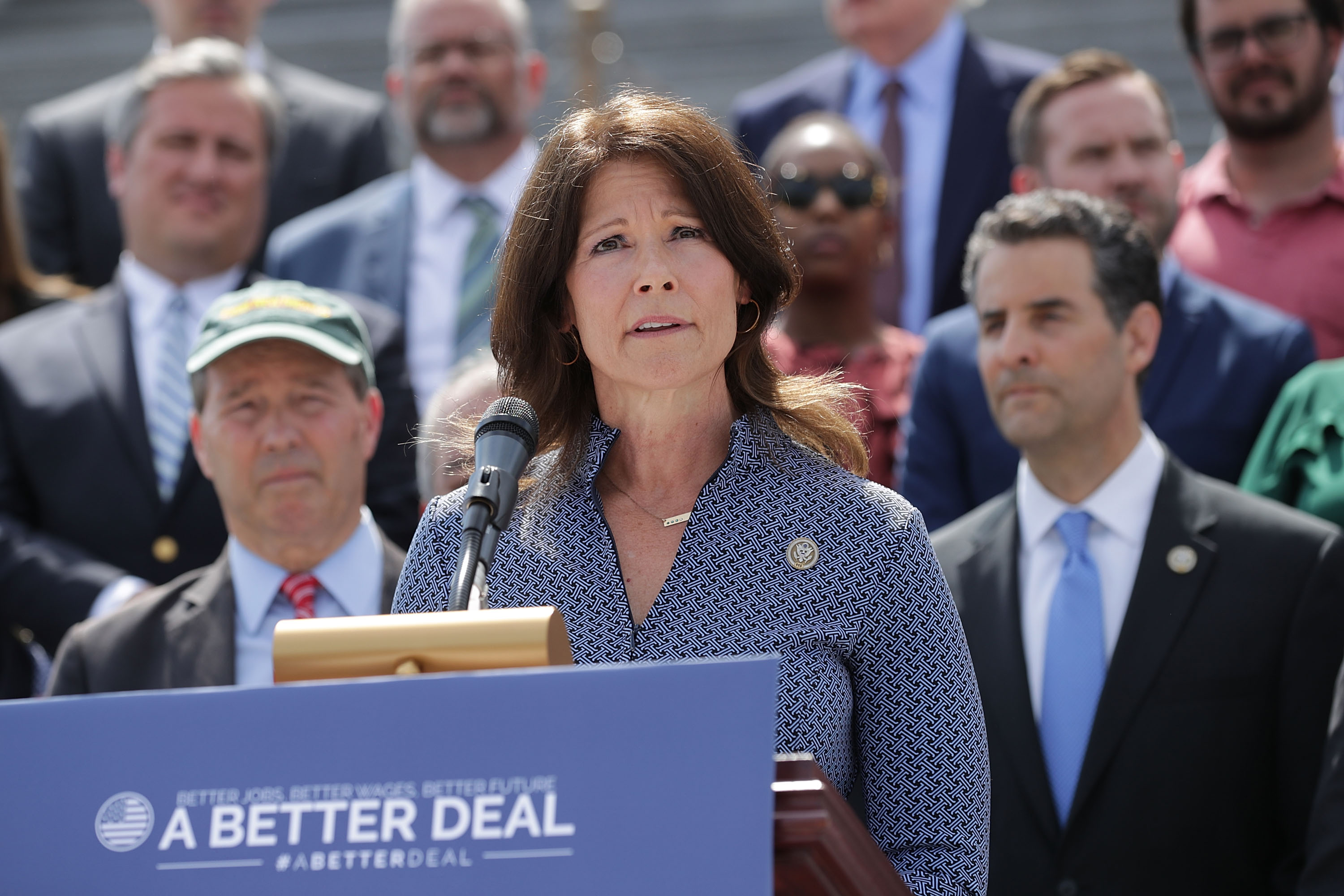 Rep. Cheri Bustos (D-IL) joins a group of fellow Democrats and their supporters to introduce a new campaign to retake Congress during a news conference at the U.S. Capitol May 21, 2018 in Washington, DC. The campaign, called 'A Better Deal for Our Democracy,' aims at 'taking back the power from special interests and getting rid of the pay-to-play culture of corruption, cronyism and incompetence embodied by the Trump Administration.' (Photo by Chip Somodevilla/Getty Images)