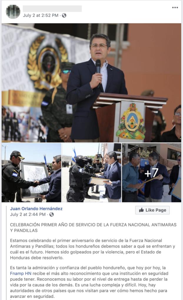 Honduran Facebook ad/ Facebook Newsroom