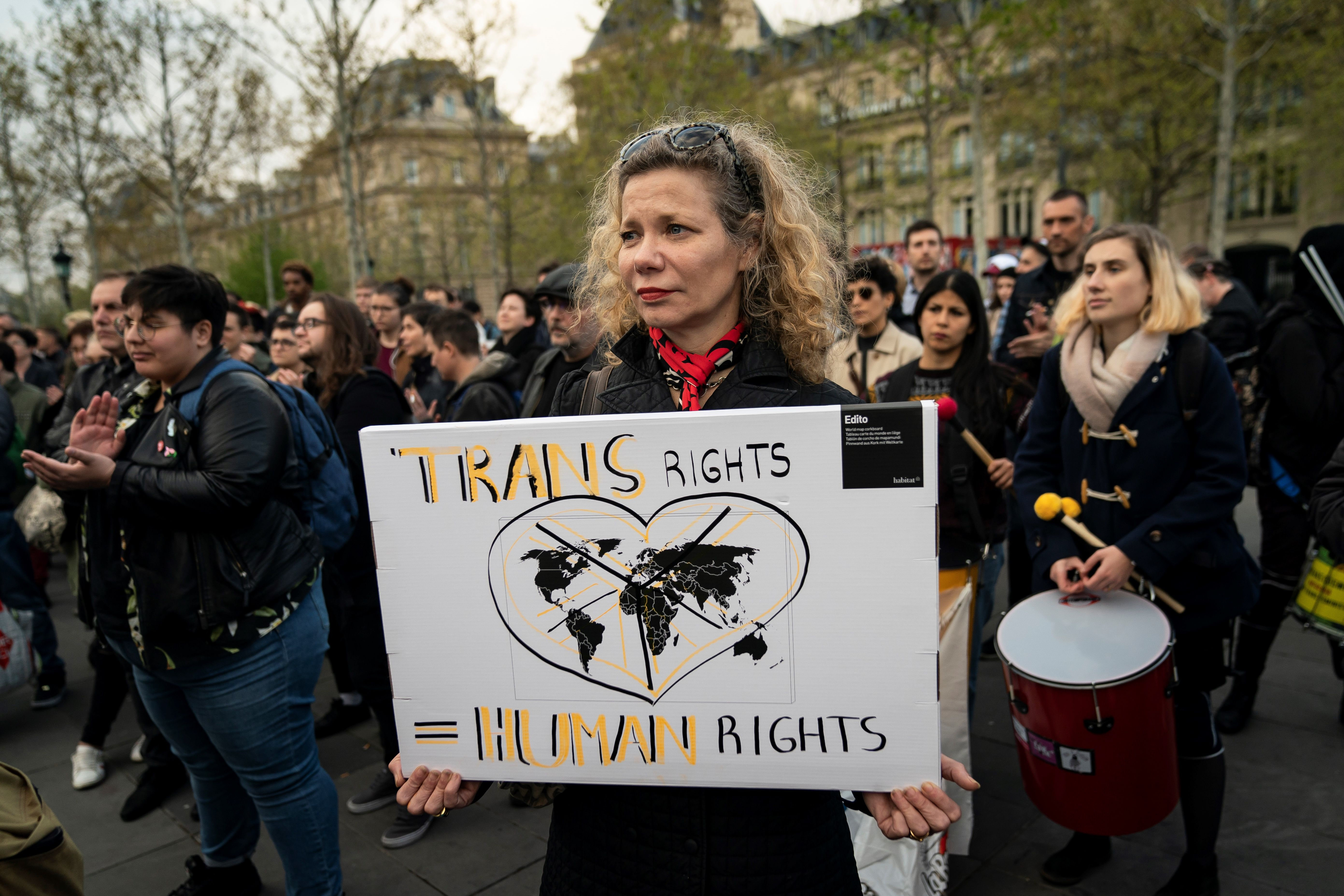 People attend a demonstration to support transgender and intersex rights and protest against discrimination in Paris on April 9, 2019. (Photo by LIONEL BONAVENTURE/AFP/Getty Images)