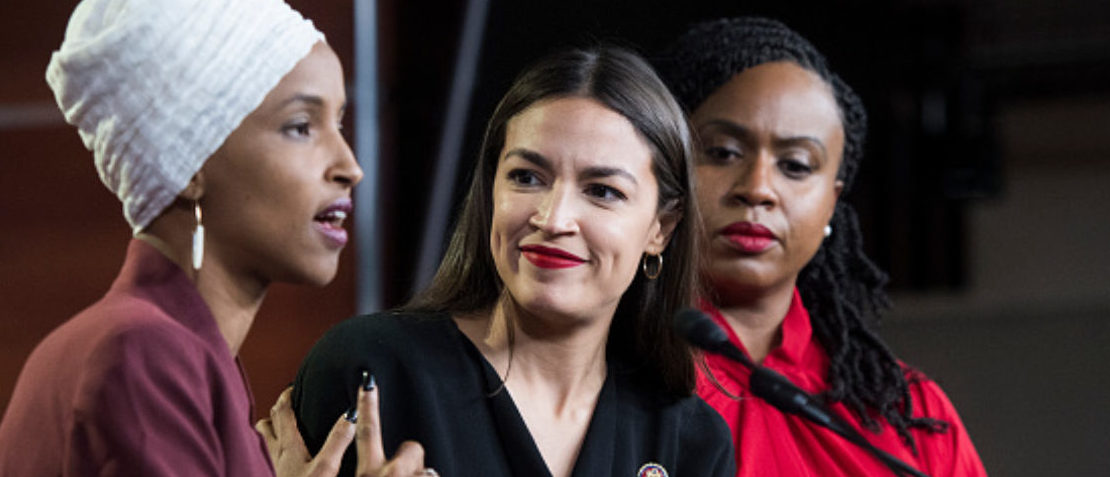 UNITED STATES - JULY 15: From left, Reps. Ilhan Omar, D-Minn., Alexandria Ocasio-Cortez, D-N.Y., and Ayanna Pressley, D-Mass., conduct a news conference in the Capitol Visitor Center responding to negative comments by President Trump that were directed at the freshmen House Democrats on Monday, July 15, 2019. (Photo By Tom Williams/CQ Roll Call)