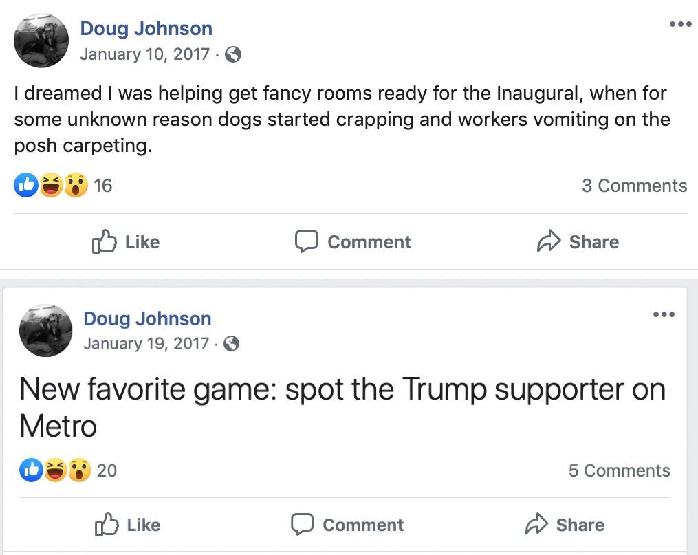 Two Facebook posts depicting anti-Trump rhetoric. (Screenshot Facebook/Doug Johnson)