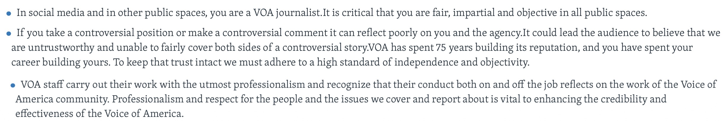 Part of VOA's policy, as shown on the VOA website. (Screenshot, Voice of America)