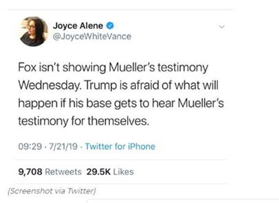 MSNBC's Joyce Alene tweeted alleging that Fox News was not airing the Mueller report, before deleting the tweet and walking it back the next day. (Screenshot Twitter/Joyce Alene)