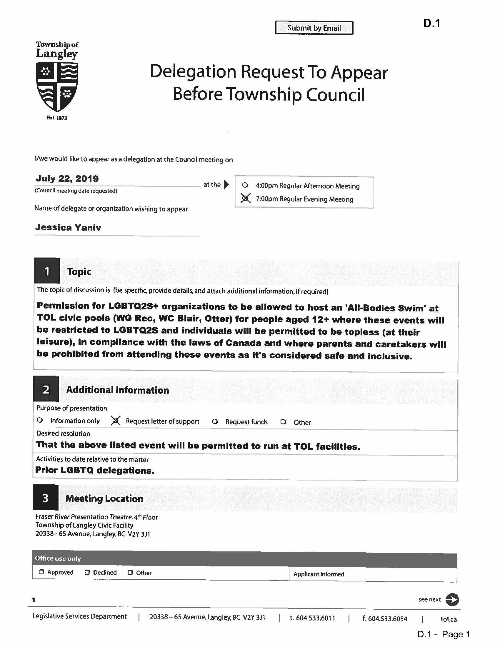 Jessica Yaniv is scheduled to appear before the Township of Langley Council to ask permission for a topless, all-bodies-swim. (Township of Langley)
