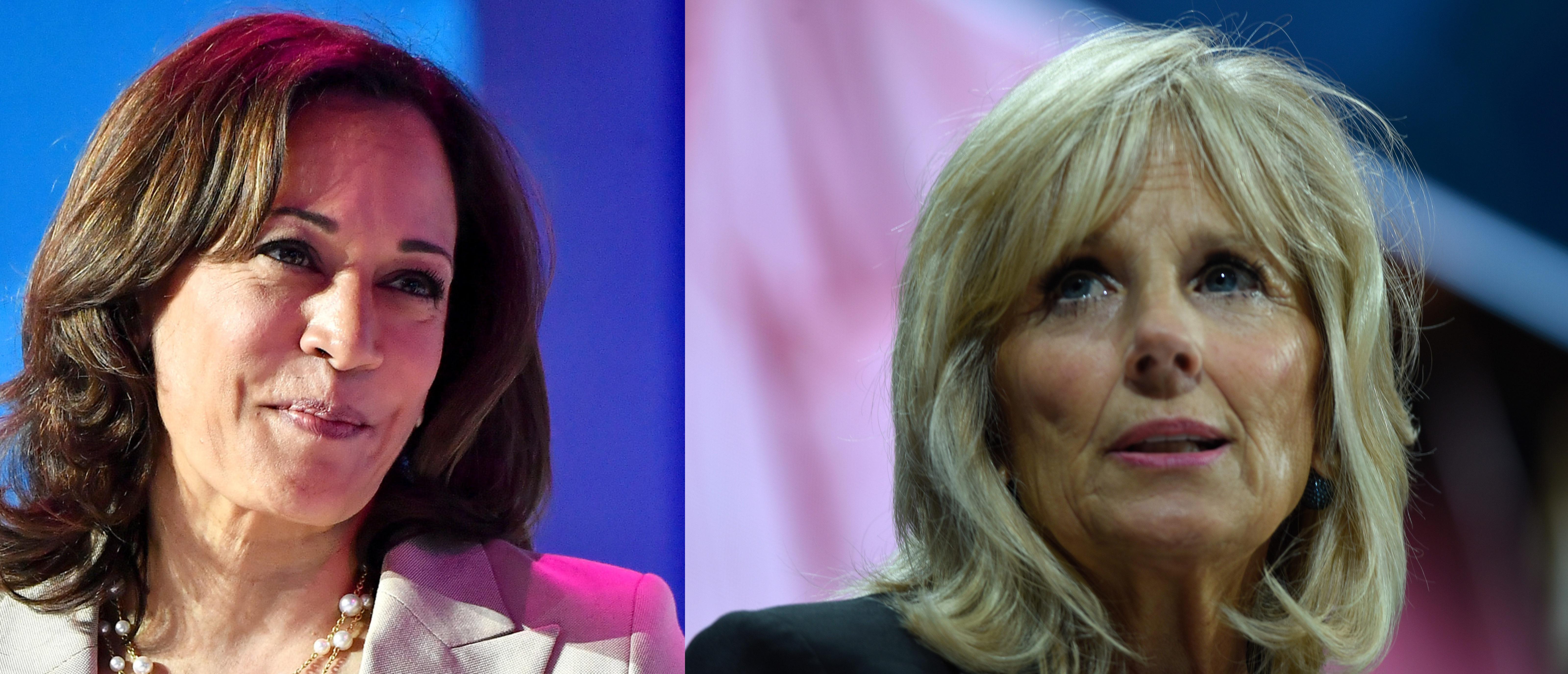 Left: Democratic California Sen. Kamala Harris. Right: Jill Biden, wife of former Vice President Joe Biden (Paras Griffin/Getty Images for ESSENCE; Riccardo Savi/Getty Images for Concordia Summit)