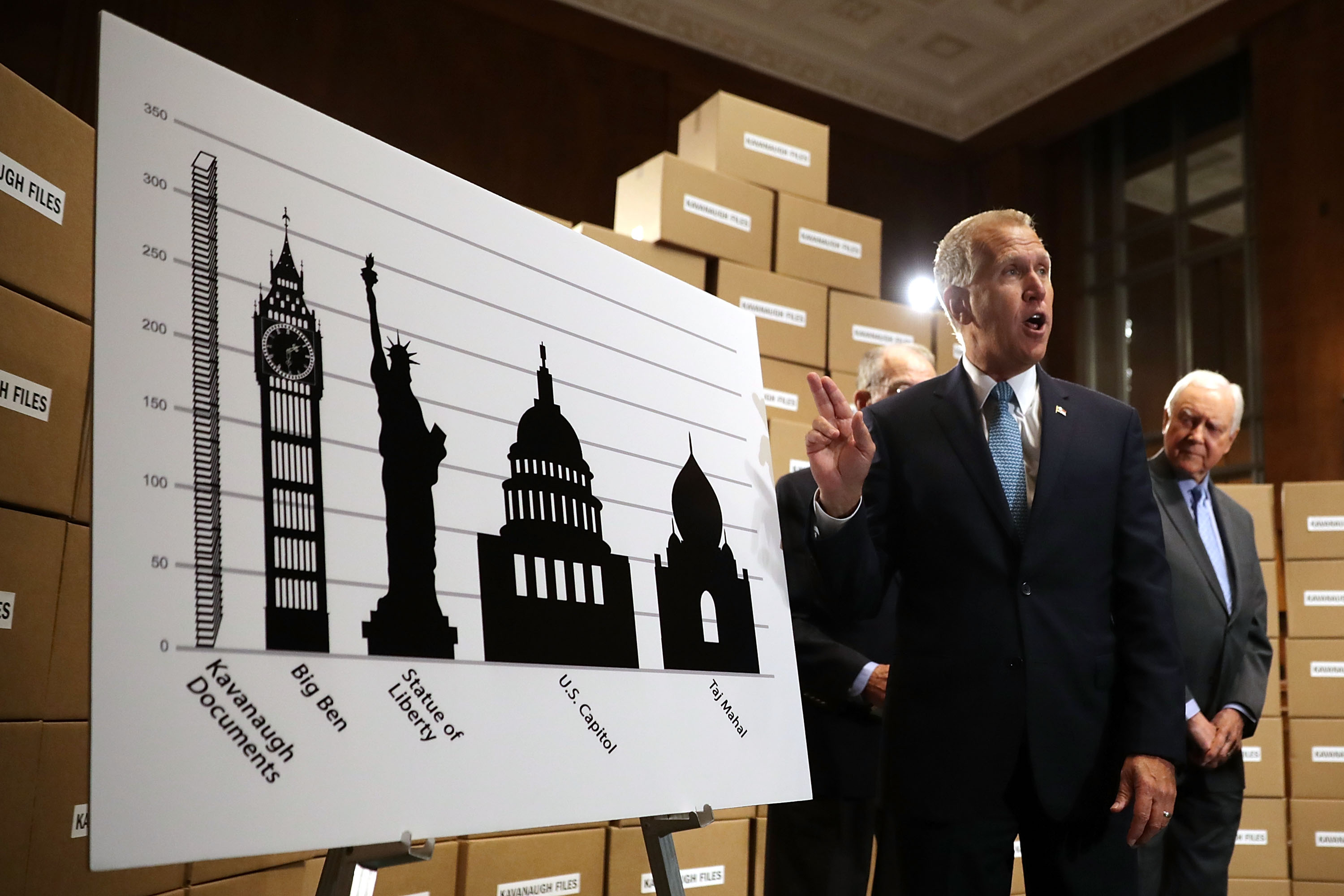 Republican lawmakers look on as Sen. Thom Tillis (R-NC) compares the volume of Brett Kavanaugh's document production to landmark buildings on August 2, 2018. (Chip Somodevilla/Getty Images)