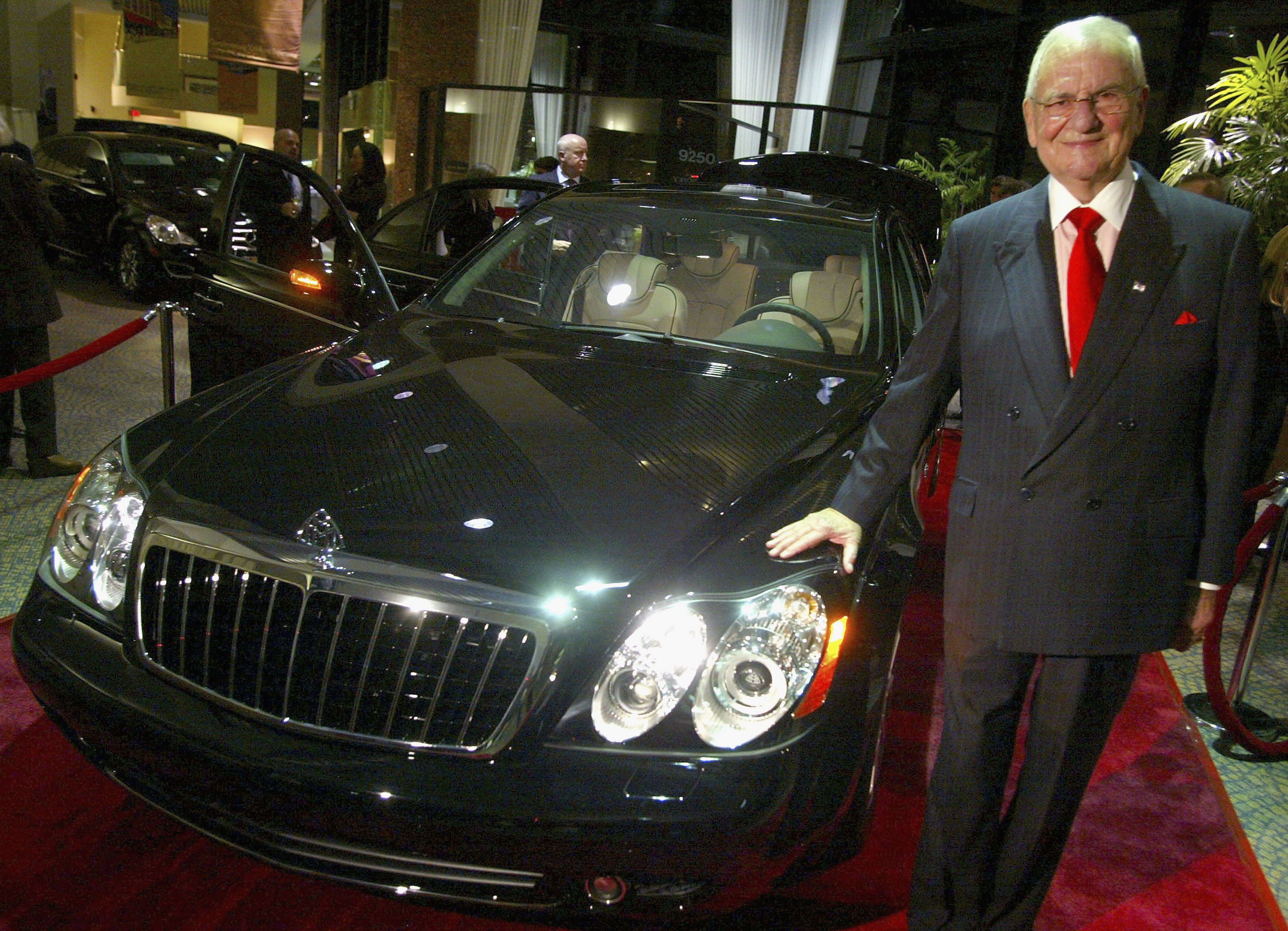 "BEVERLY HILLS , CA - OCTOBER 18: Chrysler Chairman Lee Iacocca attends the unveiling of the new Mercedes-Benz Maybach 57S at Mercedes Benz of Beverly Hills on October 18, 2005 in Beverly Hills, California. The 605 HP V12 twin-turbo 57S sports a pricetag of $360,000 and is custom built to order with options like a champagne refrigerator and dual 9.5"" flat screen monitors. (Photo by Matthew Simmons/Getty Images)"