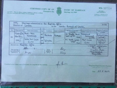 Leila Elmi marriage certificate / London records via David Steinberg