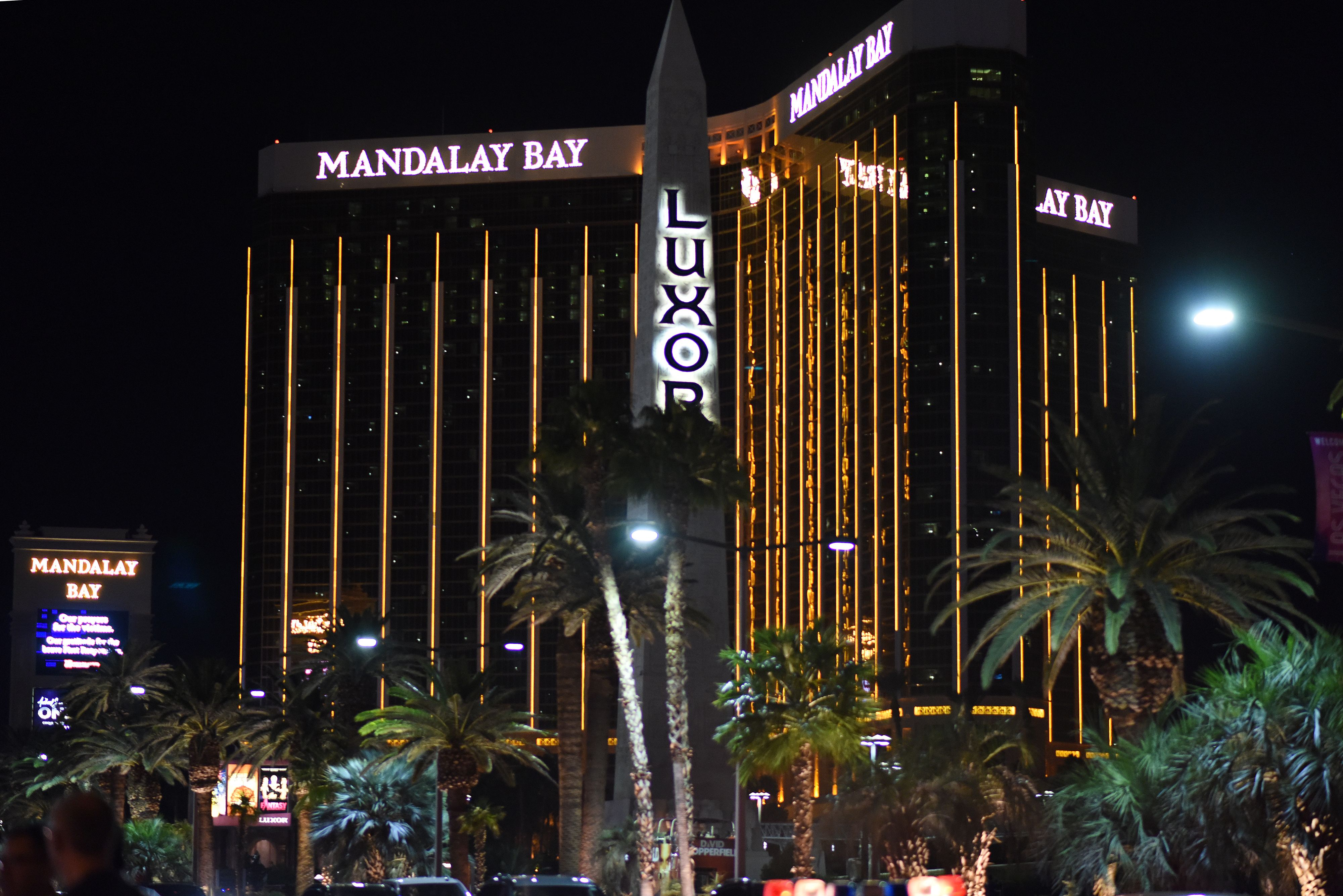 The Mandalay Bay Hotel on the Las Vegas Strip is seen, in Las Vegas, Nevada on October 3, 2017, after a gunman killed 58 people and wounded more than 500 others, before taking his own life, when he opened fire from a hotel on a country music festival. Police said the gunman, a 64-year-old local resident named as Stephen Paddock, had been killed after a SWAT team responded to reports of multiple gunfire from the 32nd floor of the Mandalay Bay, a hotel-casino next to the concert venue. (Photo by ROBYN BECK/AFP/Getty Images)