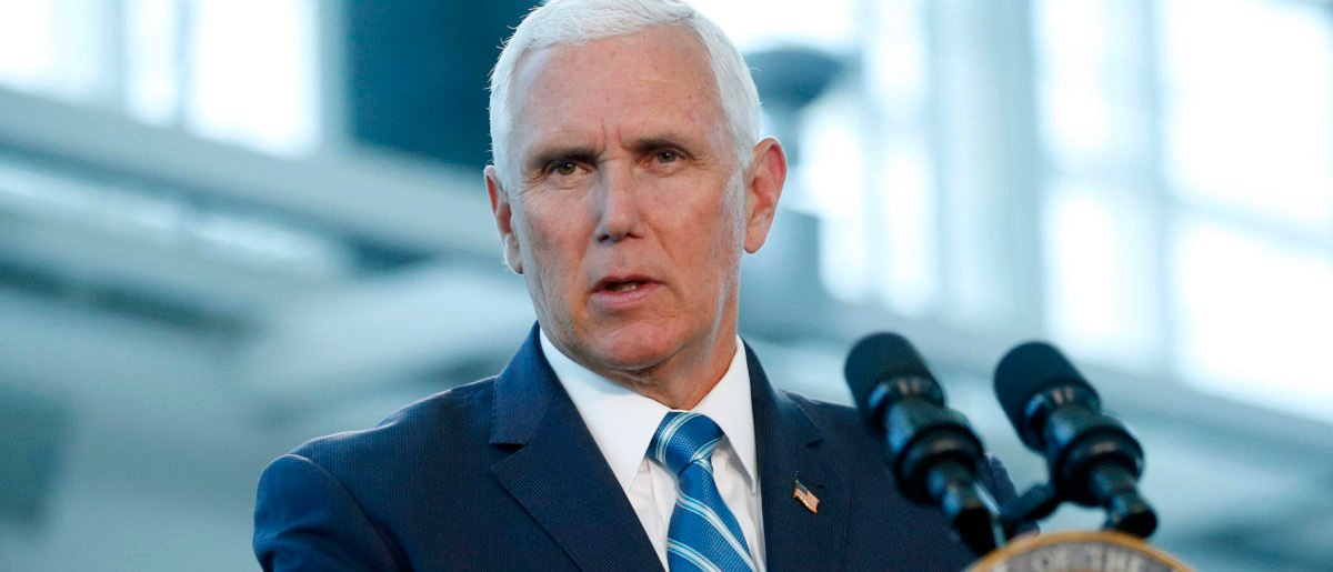 Vice President Mike Pence addresses media and guests at a press conference to address the US Naval Hospital Ship Comfort at the Port of Miami. (Rhona Wise/AFP/Getty Images)
