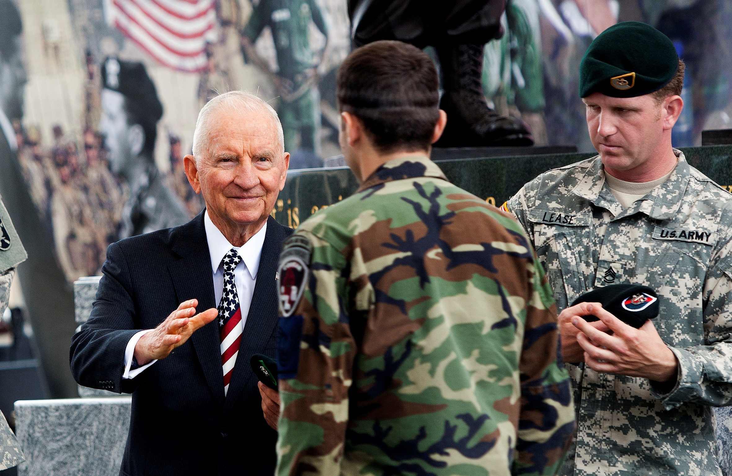 H. Ross Perot, an honorary member of the Special Forces regiment, congratulates an allied student of the Special Forces Qualification Course during his class's graduation ceremony at the U.S. Army John F. Kennedy Special Warfare Center and School in Fort Bragg, North Carolina, U.S., April 5, 2012. Picture taken on April 5, 2012. Courtesy Russell Klika/U.S. Army/John F. Kennedy Special Warfare Center and School/Handout via REUTERS