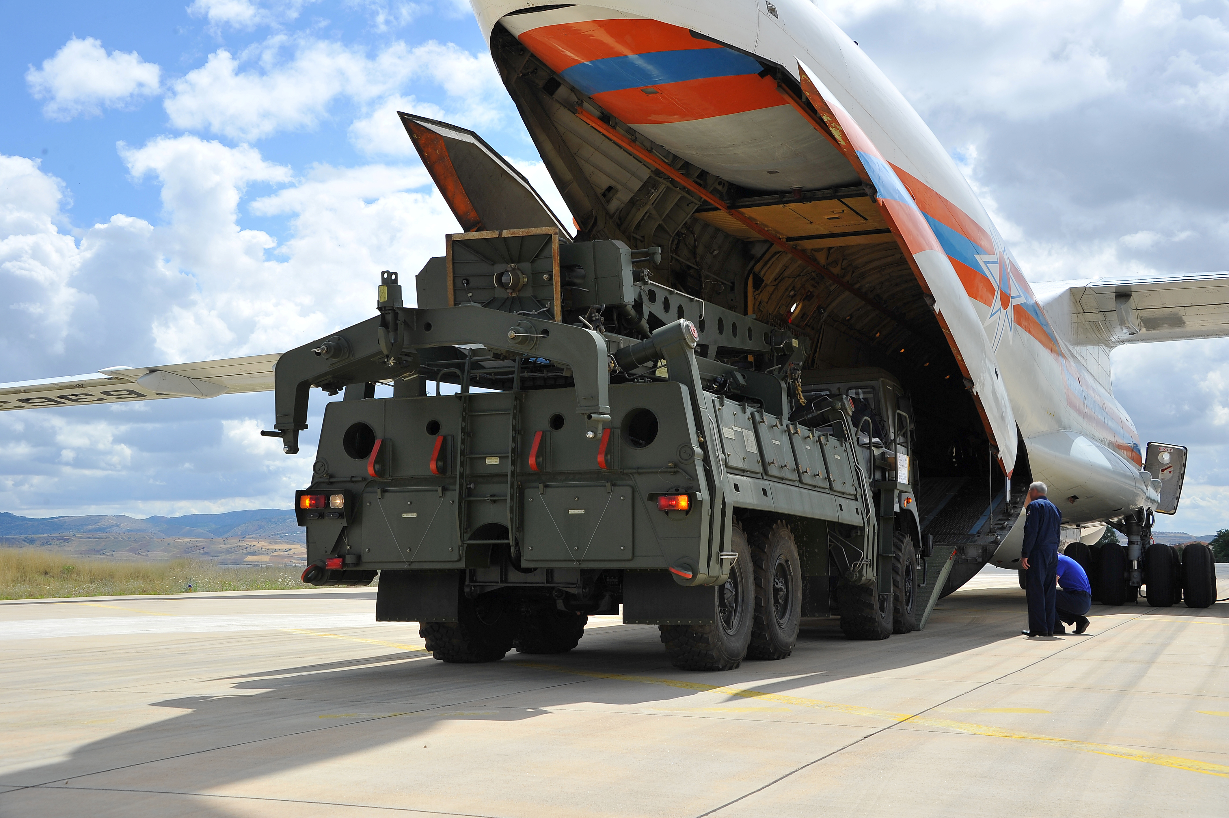 The first part of a Russian S-400 anti-aircraft missile system is seen here, being unloaded in Turkey. (Reuters)