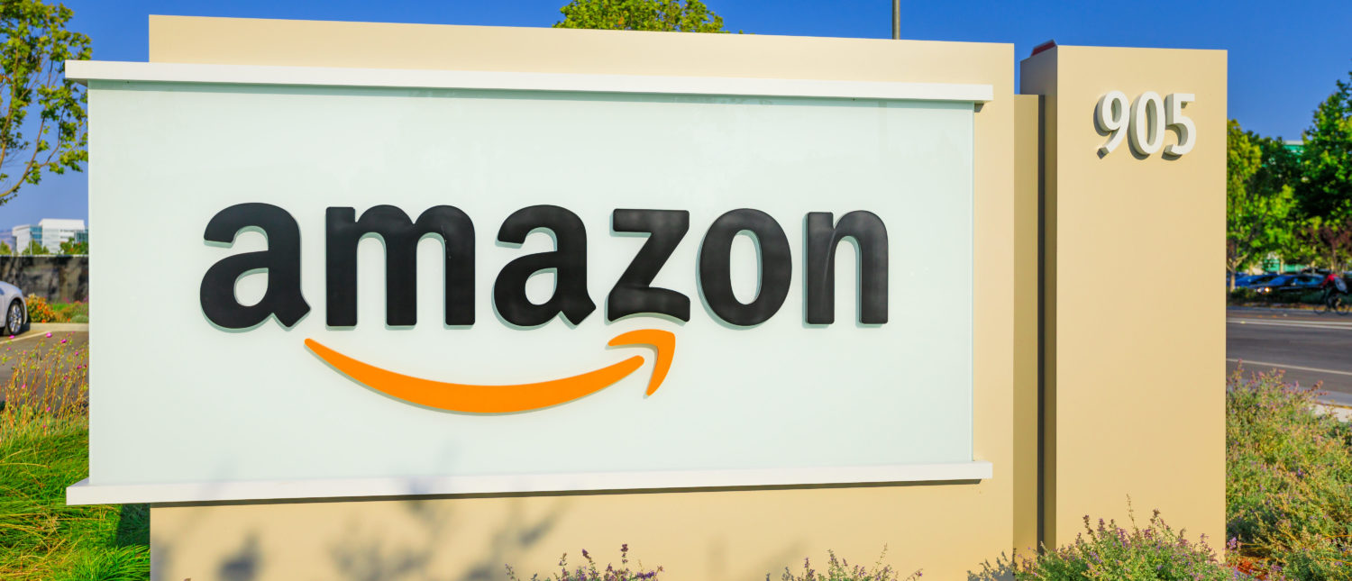 Sunnyvale, California, USA - August 13, 2018: closeup of Amazon Sign at Enterprise Way, the Big Amazon campus in Sunnyvale, Silicon Valley. Amazon is leader in electronic commerce. (Benny Marty/Shutterstock)