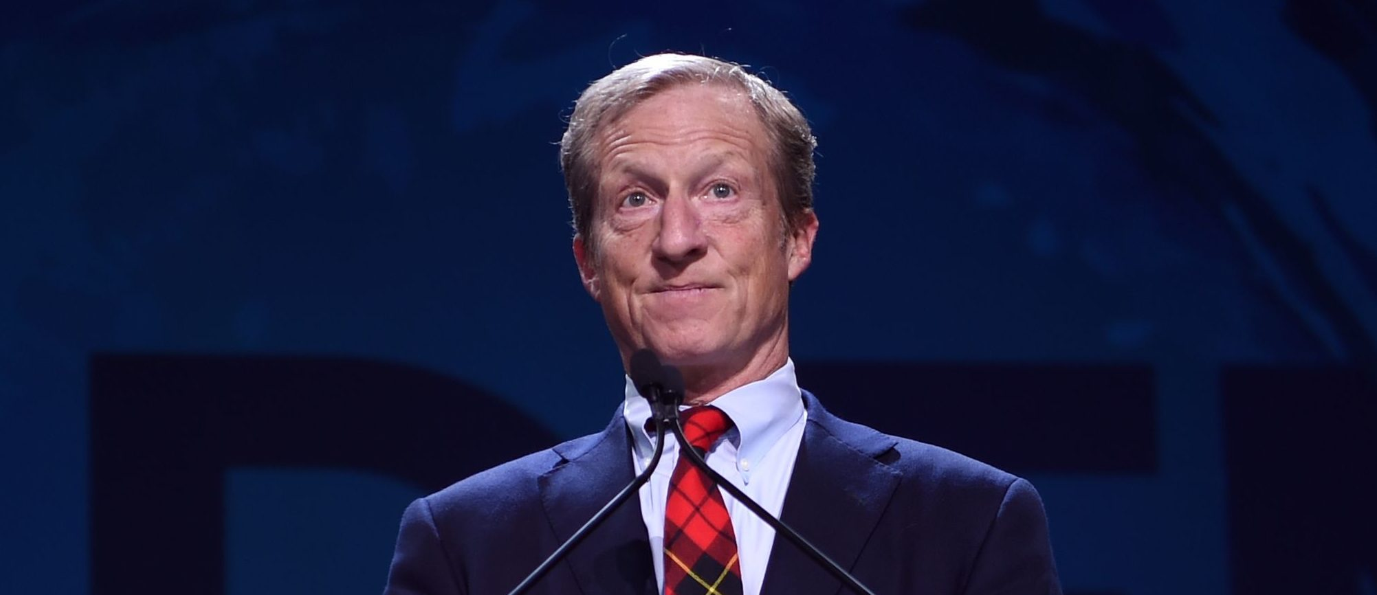 US philanthropist Tom Steyer speaks on stage during the 2019 California Democratic Party State Convention at Moscone Center in San Francisco, California on June 1, 2019. (JOSH EDELSON/AFP/Getty Images)