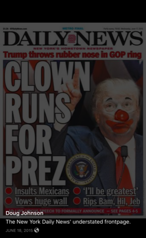 A photo shared to the Facebook page depicting Trump as a clown. (Facebook Screenshot/Doug Johnson)