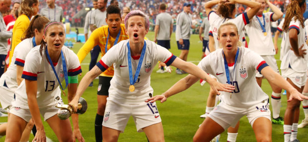 Women's World Cup Final - United States v Netherlands - Groupama Stadium, Lyon, France - July 7, 2019 Megan Rapinoe of the U.S. celebrates with the trophy with team mates after winning the Women's World Cup REUTERS/Denis Balibouse