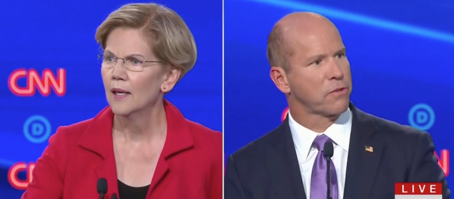 Warren and Delaney square off during Democratic primary debate. Screen Shot/CNN