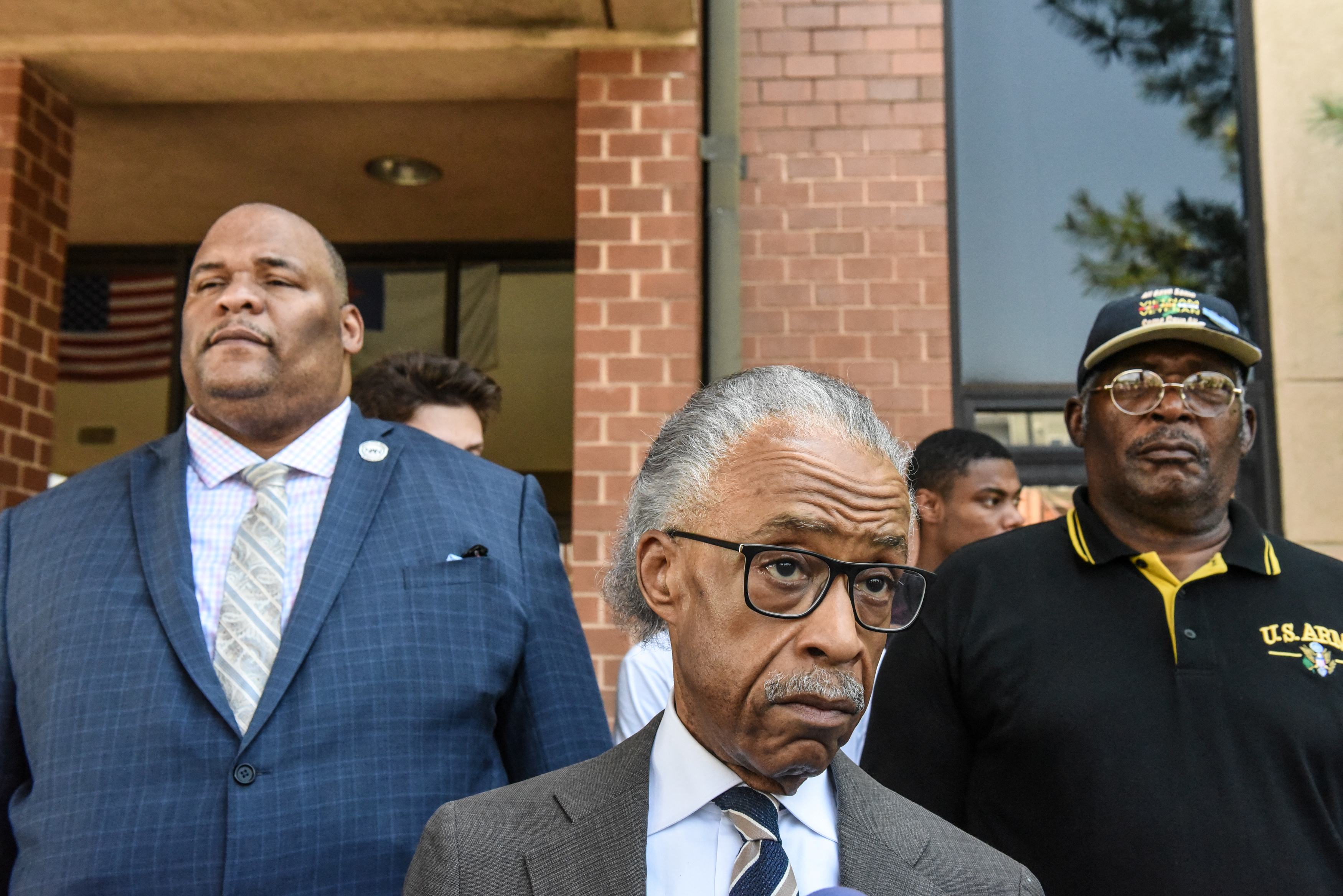 Reverend Al Sharpton from the National Action Network speaks with reporters about U.S. President Donald Trump's tweets about Baltimore in Baltimore, Maryland, U.S., July 29, 2019. REUTERS/Stephanie Keith