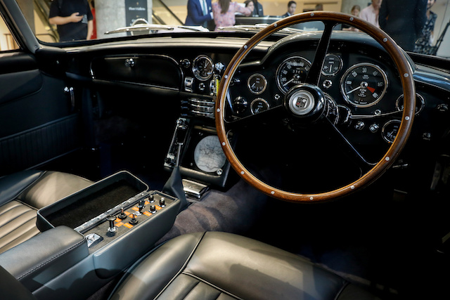 The interior of the James Bond 1965 Aston Martin DB5 coupe is displayed at Sotheby's auction house in New York, U.S., July 26, 2019. REUTERS/Brendan McDermid