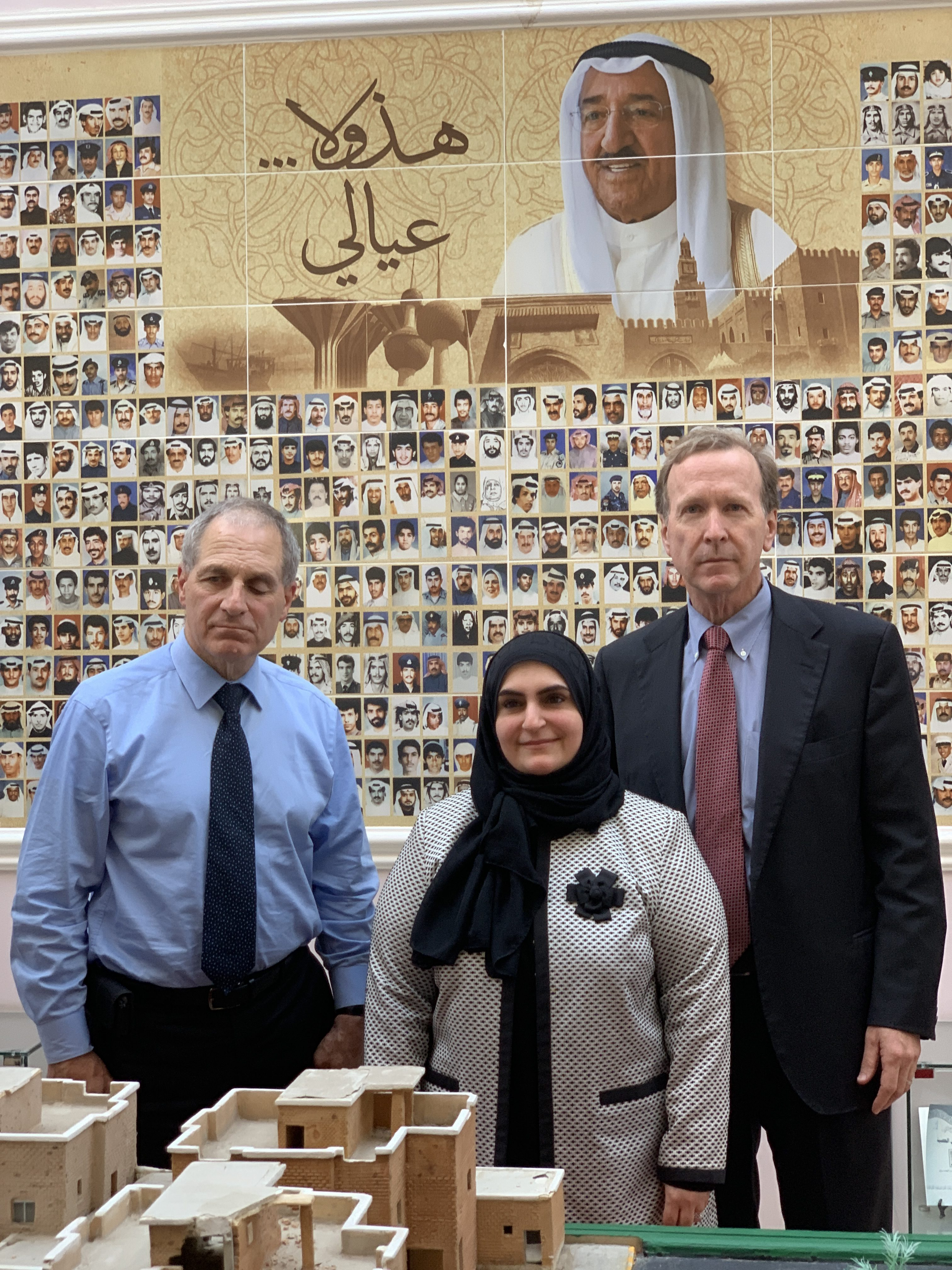 Ex-FBI Director Louis Freeh (L) and Neil Bush (R) visit the Al Qurain Martyrs Museum, a memorial to the Kuwait resistance to the Iraq invasion, on March 23, 2019. Courtesy KGL Investment