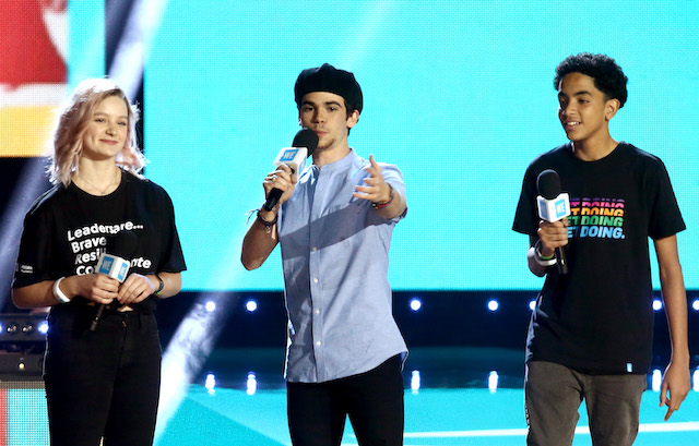 Macy Lillard, Cameron Boyce and Jazzy Satten speak onstage at WE Day California at The Forum on April 25, 2019 in Inglewood, California. (Photo by Tommaso Boddi/Getty Images for WE Day)