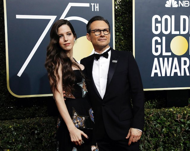 75th Golden Globe Awards Arrivals Beverly Hills, California, U.S.,07/01/2018 Christian Slater and wife Brittany Lopez. REUTERS/Mario Anzuoni