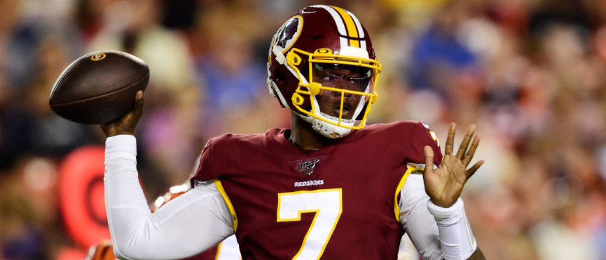 LANDOVER, MD - AUGUST 15: Dwayne Haskins #7 of the Washington Redskins throws a pass in the second quarter against the Cincinnati Bengals during a preseason game at FedExField on August 15, 2019 in Landover, Maryland. (Photo by Patrick McDermott/Getty Images)
