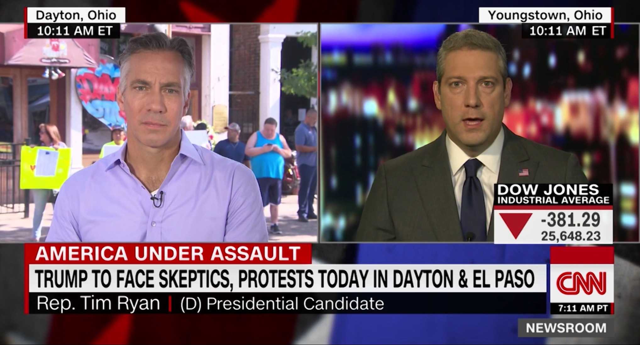 Ohio Democratic Rep. Tim Ryan speaks to CNN about his plans to bring a caravan to Sen. Mitch McConnell's house to support gun control, Aug. 7, 2019. CNN screenshot.