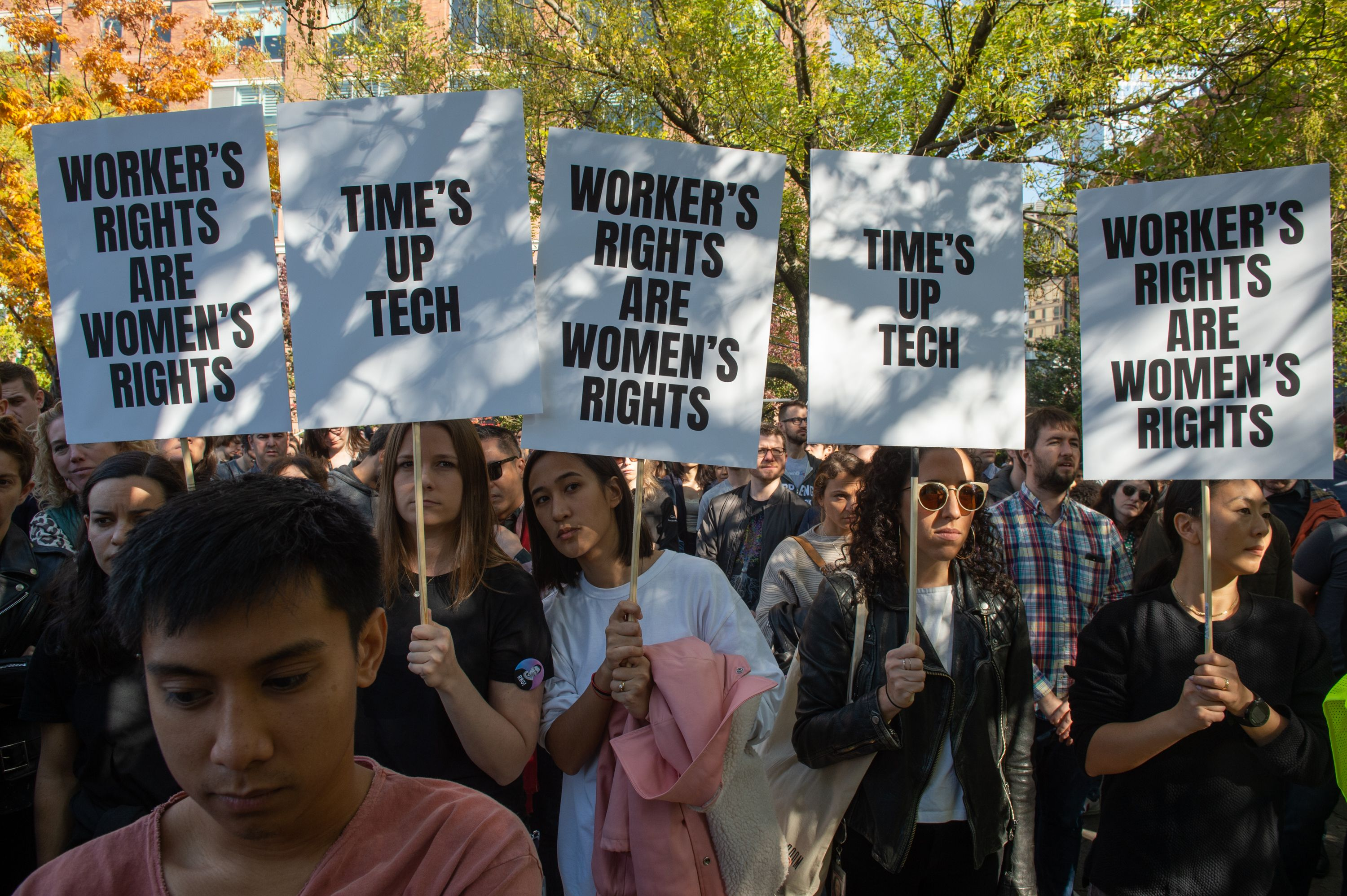 Google employees stage a walkout on November 1, 2018, in New York. (Photo by Bryan R. Smith/AFP/Getty Images)