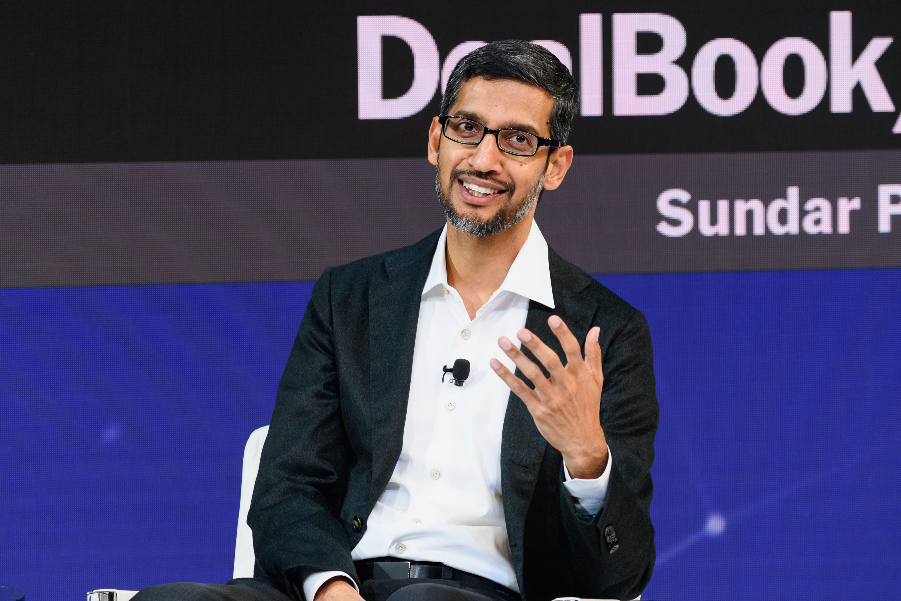 NEW YORK, NY - NOVEMBER 01: Sundar Pichai, C.E.O., Google Inc. speaks onstage during the 2018 New York Times Dealbook on November 1, 2018 in New York City. (Photo by Michael Cohen/Getty Images for The New York Times)