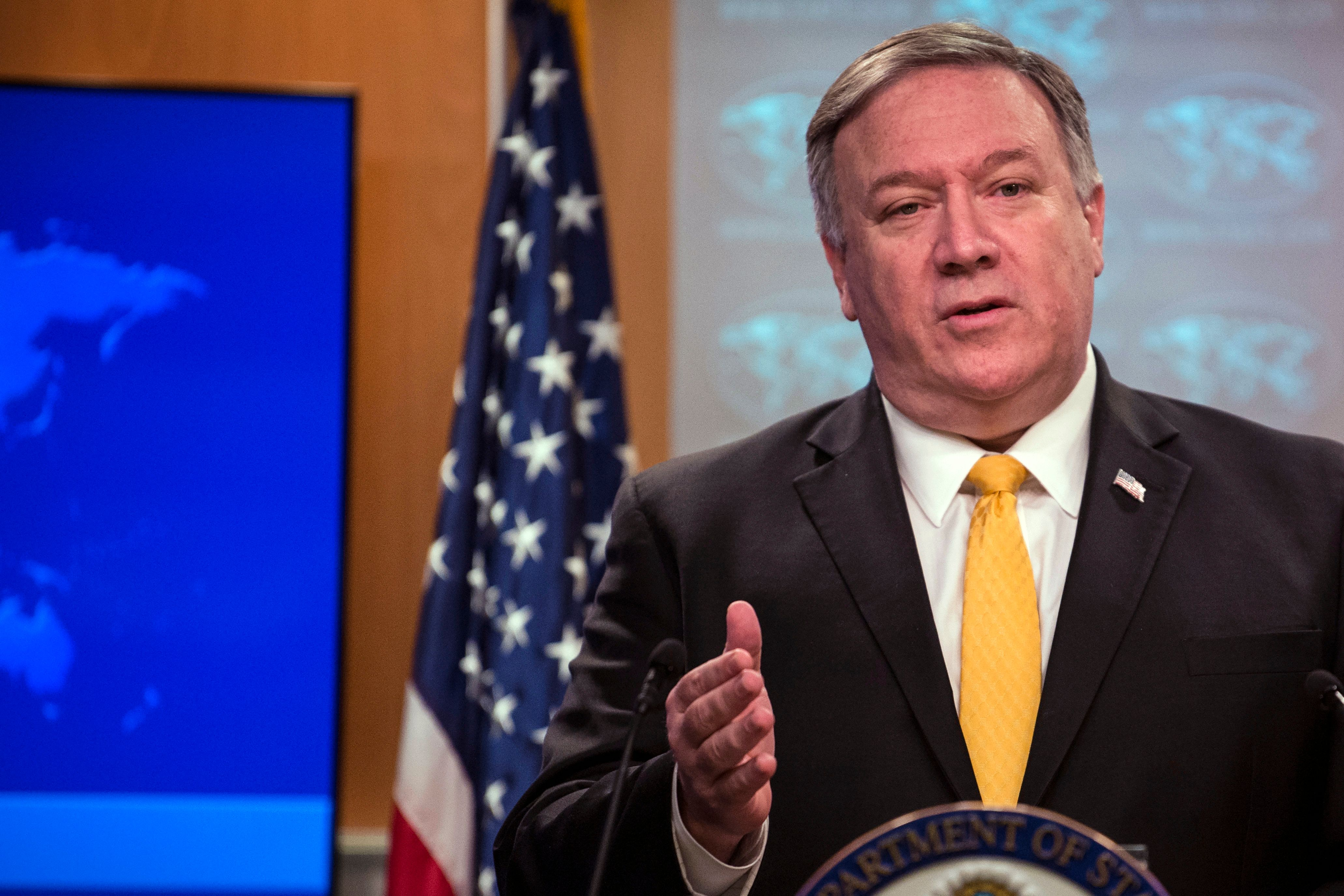 US Secretary of State Mike Pompeo speaks at a press briefing in the State Department in Washington, DC, on February 1, 2019. - Pompeo announced that the US will withdraw from the Intermediate-Range Nuclear Forces Treaty with Russia (Photo by Eric BARADAT / AFP) (Photo credit should read ERIC BARADAT/AFP/Getty Images)
