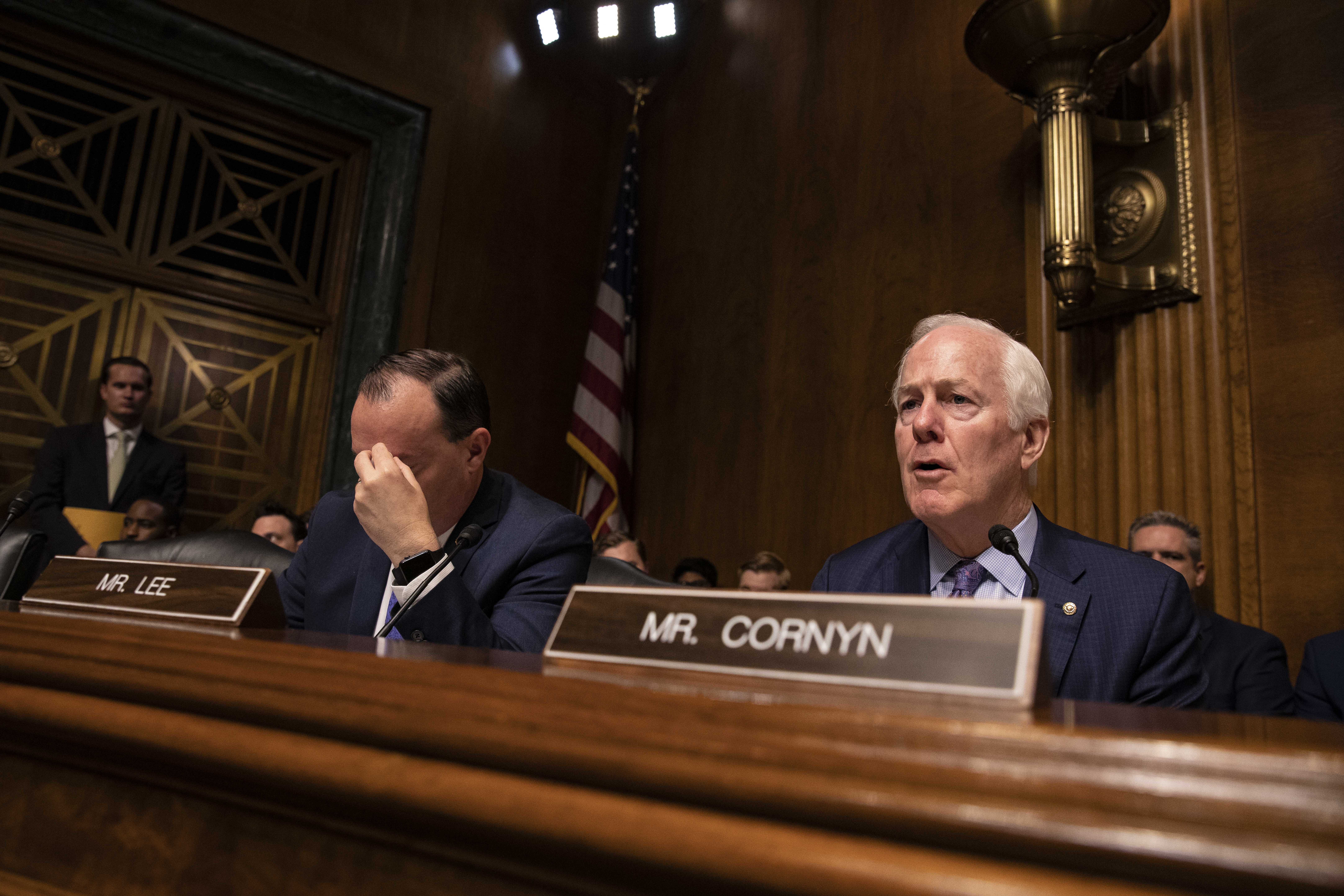 Senator John Cornyn (R-TX) speaks during a Senate Judiciary Committee hearing with Acting Homeland Security Secretary Kevin McAleenan on Capitol Hill on June 11, 2019 in Washington, DC. Members of the committee and the witness discussed the Secure and Protect Act of 2019 and how it would fix the crisis at the U.S. Southern Border. (Photo by Anna Moneymaker/Getty Images)