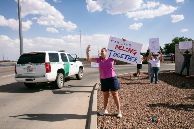 EL PASO, TX - JUNE 25: Kris Brikman from Palo Alto California joined the Caravan to Clint, TX to protest the continued seperation of migrant children form their families and the conditons they are being held by CBP. The protest was organized by Julie Lythcott-Haims from norther California on June 25, 2019 in El Paso, Texas. (Photo by Christ Chavez/Getty Images)