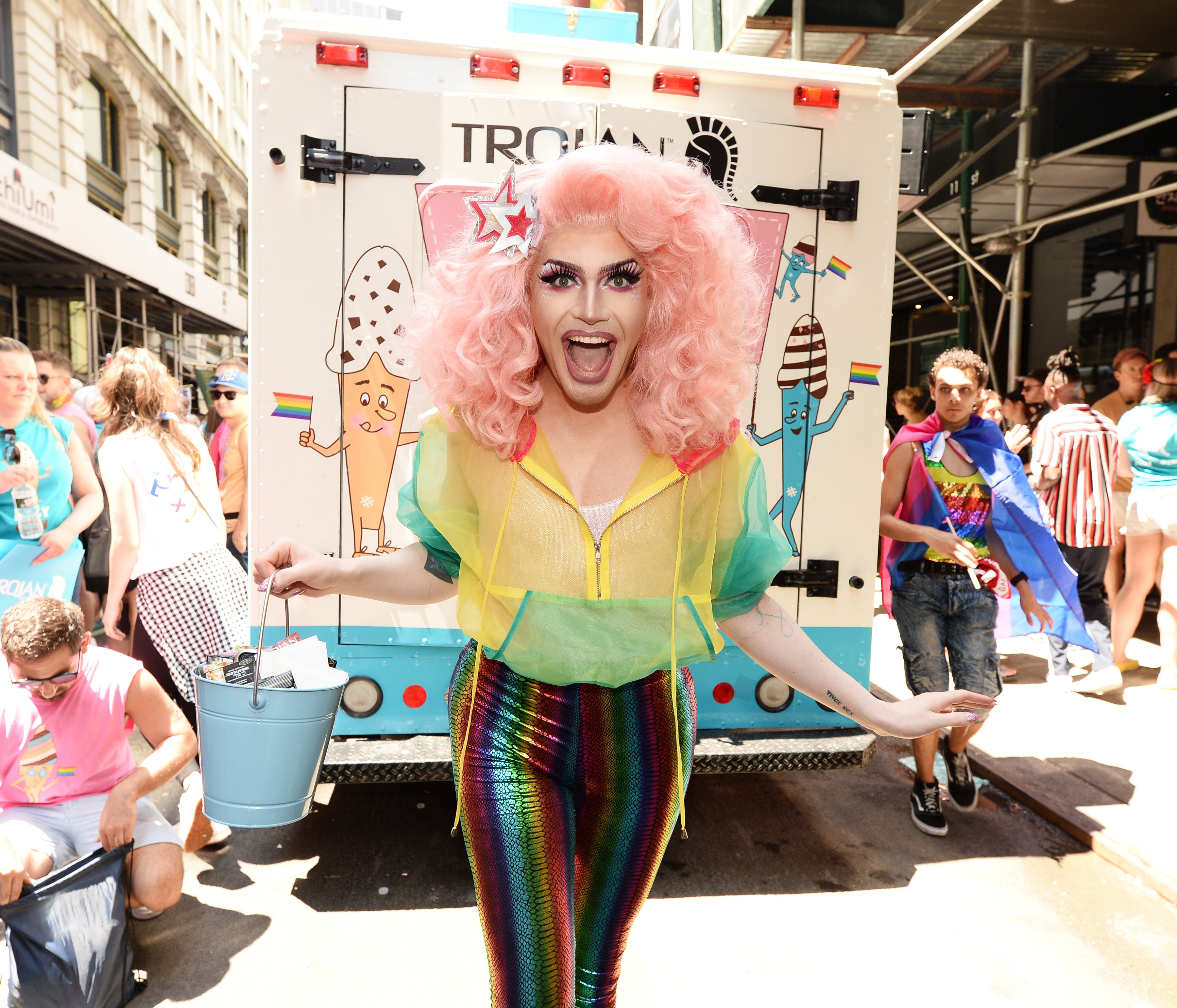 NYC drag queen Rosé partnered with Trojan Condoms to promote the Conecocktions Ice Cream Truck at the NYC WorldPride March on June 30, 2019, in New York City. (Photo by Noam Galai/Getty Images for Trojan)