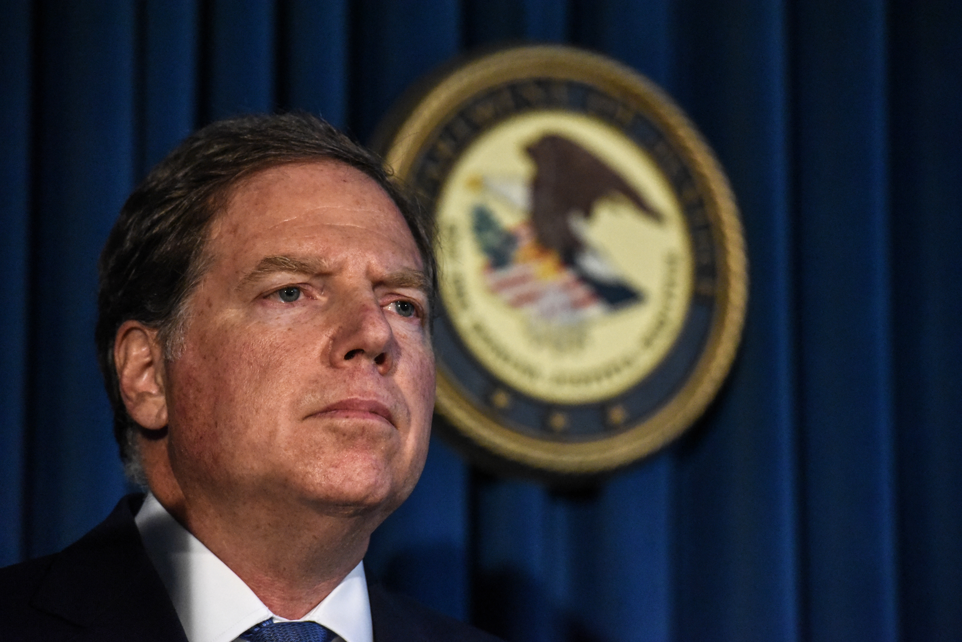 US Attorney for the Southern District of New York Geoffrey Berman announces charges against Jeffery Epstein on July 8, 2019 in New York City. (Photo by Stephanie Keith/Getty Images)
