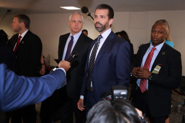 WASHINGTON, DC - JUNE 12: Donald Trump Jr., the son of U.S. President Donald Trump, stops to answer reporters' questions following a second closed-door interview with members of the Senate Intelligence Committee in the Hart Senate Office Building on Capitol Hill June 12, 2019 in Washington, DC. Trump Jr. negotiated limitations with the committee after it issued a subpoena for his testimony, which will include questions about a June 2016 meeting at Trump Tower with a Russian lawyer promising incriminating information about Hillary Clinton. (Photo by Chip Somodevilla/Getty Images)