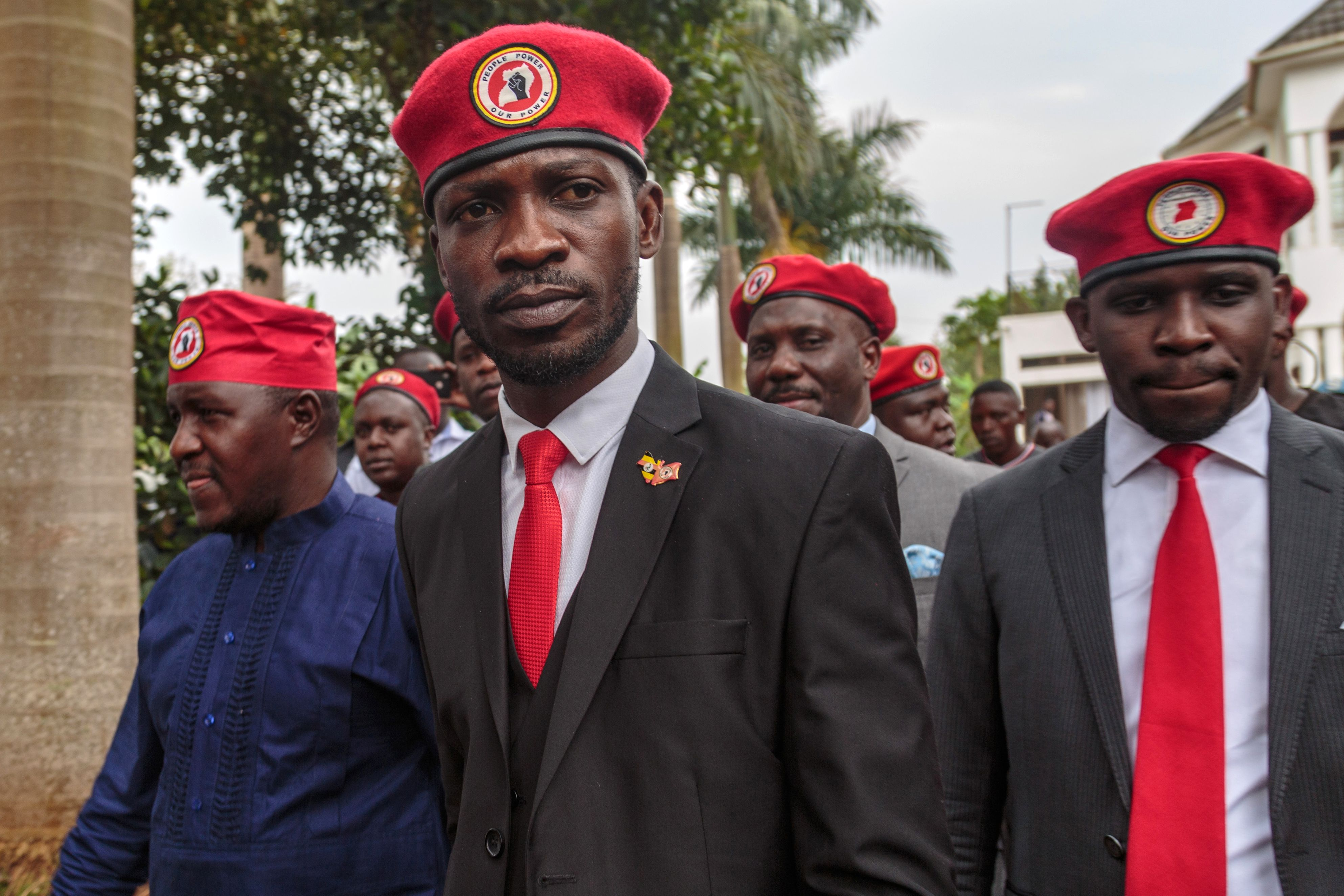Singer turned politician Robert Kyagulanyi, also known as Bobi Wine arrives for a press conference, held at his home in Magere in the outskirts of Kampala, on July 24, 2019. - Ugandan pop star turned leading opposition figure Bobi Wine on July 24, 2019 officially announced he would take on veteran President Yoweri Museveni in 2021 national elections, challenging President Yoweri Museveni who has been in power for 33 years. (Photo by SUMY SADURNI/AFP/Getty Images)
