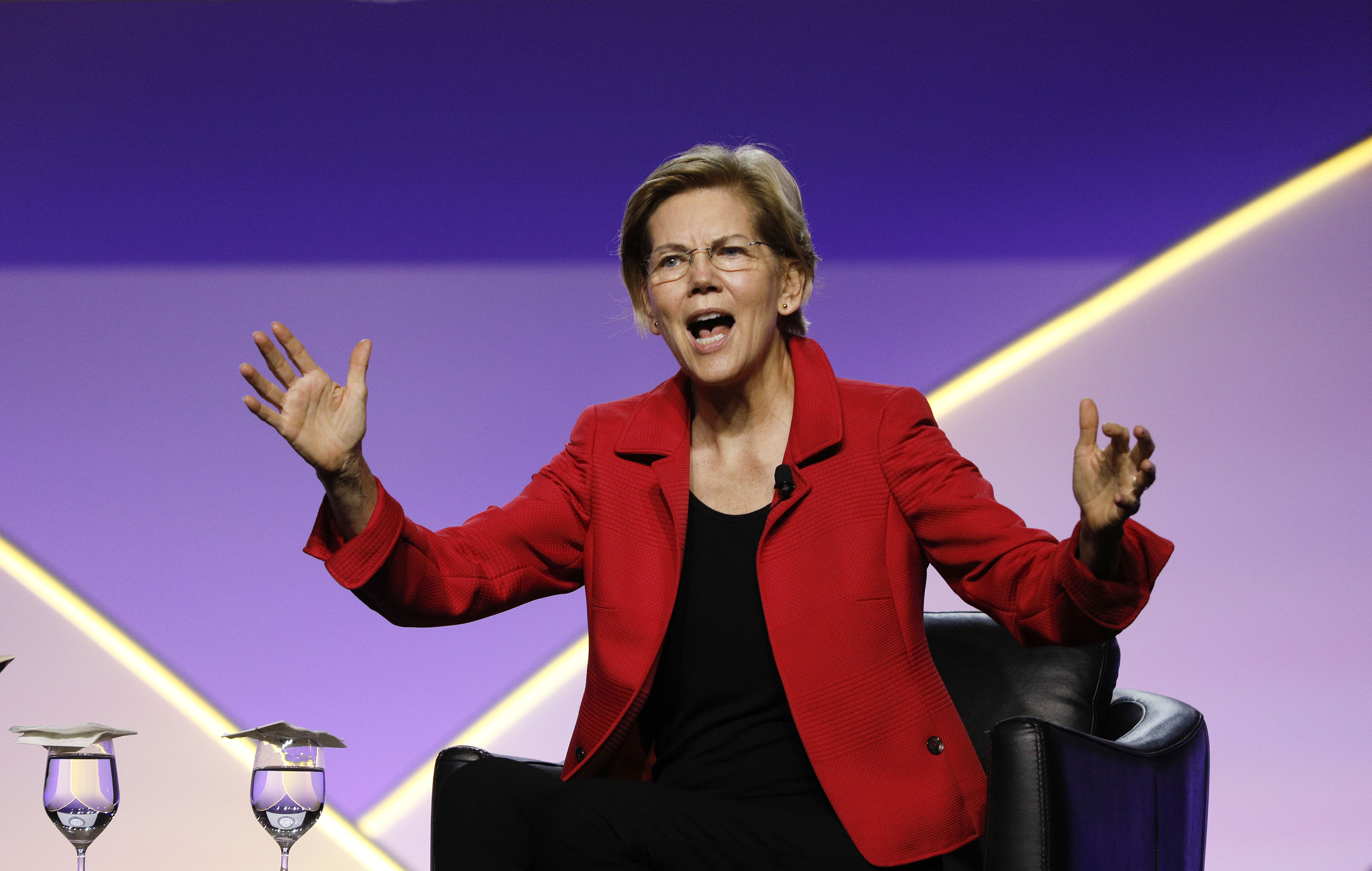 DETROIT, MI - JULY 24: Democratic presidential candidate U.S. Sen. Elizabeth Warren (D-MA) participates in a Presidential Candidates Forum at the NAACP 110th National Convention on July 24, 2019 in Detroit, Michigan. The theme of this years Convention is, When We Fight, We Win. (Photo by Bill Pugliano/Getty Images)