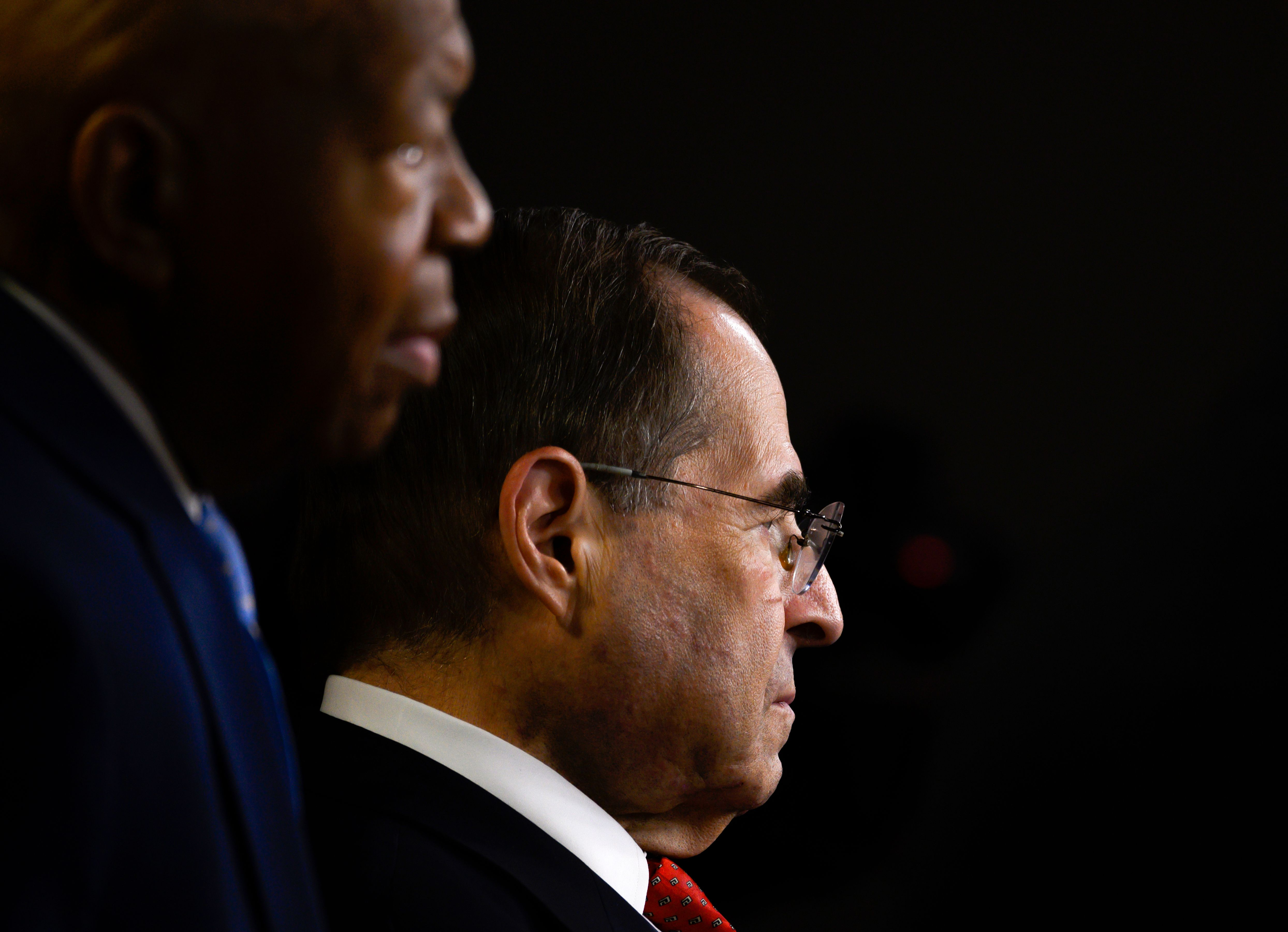 House Judiciary Committee US Representative Jerry Nadler (R) and US Representative Elijah Cummings, Democrat of Maryland and Chairman of the House Oversight and Reform Committee look on during a press conference following the former Special Counsel's testimony before the House Select Committee on Intelligence in Washington, DC, on July 24, 2019. (Photo by ANDREW CABALLERO-REYNOLDS / AFP) (Photo credit should read ANDREW CABALLERO-REYNOLDS/AFP/Getty Images)